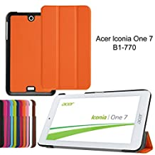 Acer Iconia One 7 B1-770 7in Case,[Magnetic Closure][3-Folding] Leather Stand Cover flip case Cover for Acer Iconia One 7 B1-770 Folio Cover-Orange