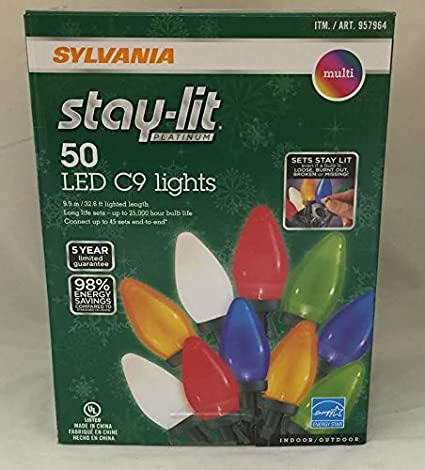 Sylvania Stay Lit Platinum Led Indoor Outdoor Christmas String Lights Multi Colored 100ct C9 Lights