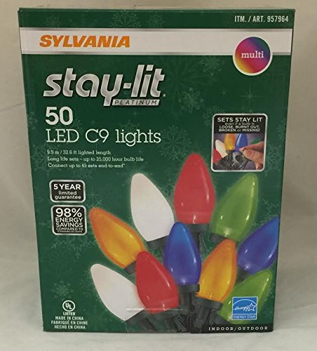 Sylvania Stay-Lit Platinum LED Indoor/Outdoor Christmas String Lights (Multi-Colored, 200ct C9 lights)
