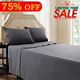 #5: Queen Bed Sheet Set - 4 Piece Dark Grey - Brushed Microfiber 1800 Threads 16-Inch Deep Pocket Soft Hypoallergenic Easy Care by Shilucheng