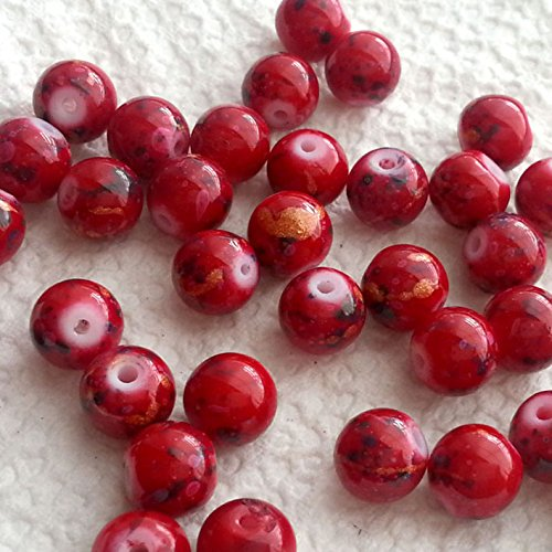 BSI - 50pcs Mix Artistic Designs Lampwork Glass Round Beads 8mm ~ Loose Beads~ (Red Ceramic (Red Glass Bead)