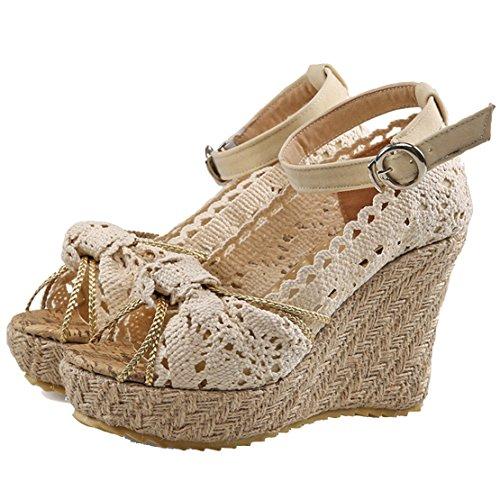 AIYOUMEI Damen Peep Toe Knöchelriemchen Keilabsatz Sandalen mit Spitz und Schleife Elegant Sommer Schuhe Aprikose