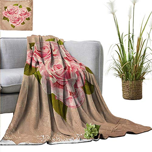 Rose Faux Fur Throw Blanket Pink Bouquet of Valentines Roses Retro Love Romance Theme Grunge Display Bedroom Warm 55