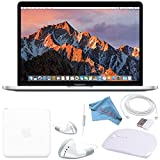 Apple 128GB SSD 13.3' MacBook Pro (Silver) MPXR2LL/A + White 2.4 GHz Slim Optical Wireless Bluetooth Mouse + White Wired Earbuds + Fibercloth Bundle