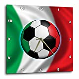 3dRose dpp_155053_1 Italy Soccer Ball Concept Italian Flag Banner Waving National Country Wall Clock, 10 by 10-Inch