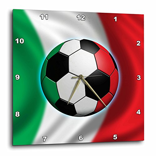3dRose dpp_155053_1 Italy Soccer Ball Concept Italian Flag Banner Waving National Country Wall Clock, 10 by 10-Inch by 3dRose