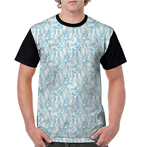 Casual T Shirts,Sea Horse,Pastel Color Blue Shaded S-XXL Female Baseball Top - Candle Shaded
