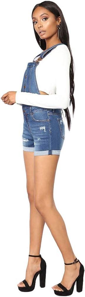 Bmeigo Pantaloncini Salopette Donna Denim Playsuit Sfilacciato Bbbottonatura Incrociata Pant Tuta Blu Estensibile