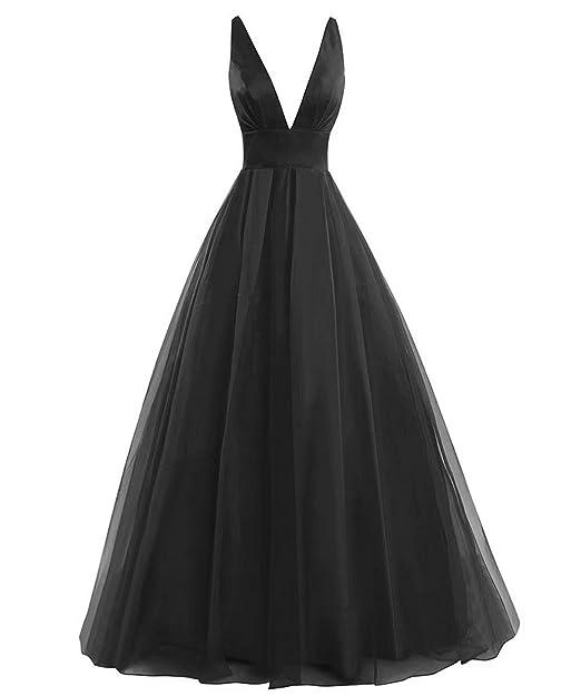 c4f50acfec6 AiniDress Women s Deep V Neck Long Prom Dress Formal Evening Ball Gowns  Black Size 2