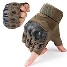 JIUSY Tactical Gloves Military Army Fingerless Hard Rubber Knuckle Half Finger Gloves for Motorcycle Cycling Hunting Paintball Airsoft