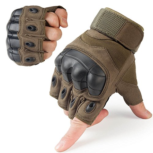 JIUSY Tactical Gloves Military Fingerless Hard Rubber Knuckle Half Finger for Army Gear Sports Driving Shooting Paintball Riding Motorcycle Hunting Gloves Size Large Green