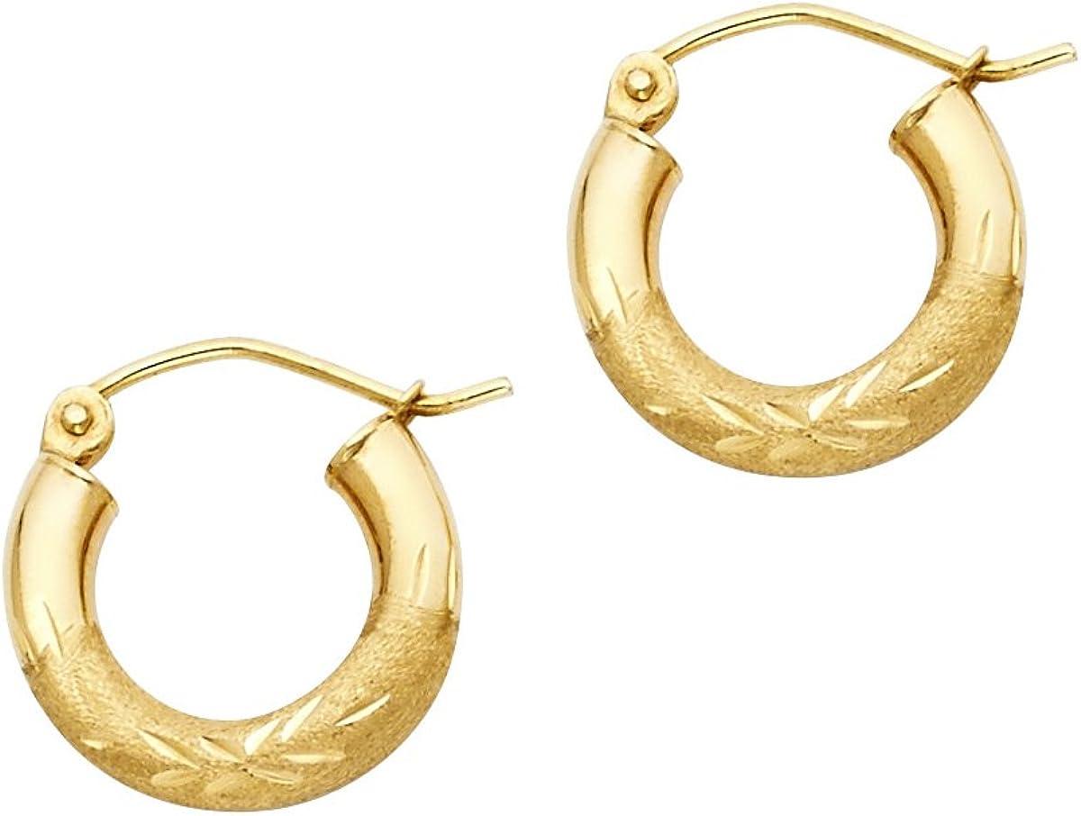 Diameter - 20mm TGDJ 14K White Gold 3mm Diamond Cut Hoop Earrings