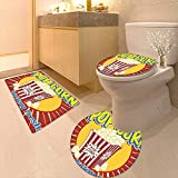 3 Piece Extended Bath mat Set Vintage Grunge Style Pop Corn Commercial Print Old Fashioned Cinema Movie Film Snack 3 Piece Toilet Cover Set