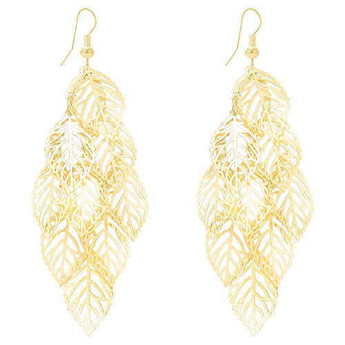 - Women's Chic Filigree Cutout Leafs Earrings Alloy Gold Plated Lightweight Layered Dangle Drop Earrings