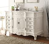 Bathroom Furniture Vanities 56 Traditional Style White Marble Morton Bathroom sink vanity - CF-2815W-AW-56