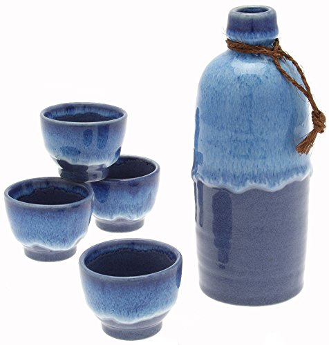 Kotobuki Japanese Sake Set, Shiro Namako''Ocean Tide'', Blue by Kotobuki