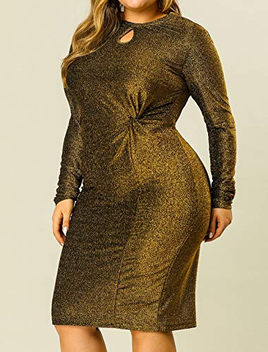 Gold Glitter Bodycon Plus Size Dress