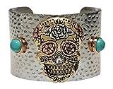 Bracelet %2D Silver Tone Skull Cuff Styl