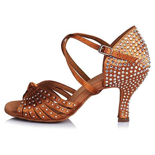 Party de Satin Chaussures Tango Bal YFF Rhinestone Talons danse professionnels latine brown Salsa personnalisés z7xRqI