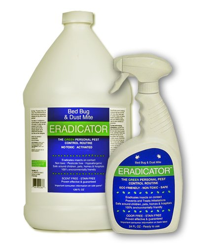 Bed Bug, Dust Mite ERADICATOR Combo 24oz Ready to use Spray with 1 Gallon Refill, Natural Solution That Safely removes Bugs, Scientific Efficacy Test Proven - 24oz & 128oz Combo Ready to use Spray