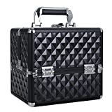 HST Small Professional Beauty Box Vanity Case Cosmetic Makeup Jewelry Storage Organiser Clasp Lock With Keys (Diamond Black)