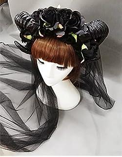 Halloween Gothic Headband Devil Horn Hair Hoop Spider Lace Veil Mask Hairband UK