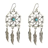 Silver Metal & Turquoise Bead Dream Catcher Earrings