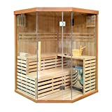 ALEKO CED3CMUR Indoor Wet Dry Sauna and Steam Room, 4 Person, Canadian Red Cedar, 6 kW ETL Electric Heater, Two Bench Levels