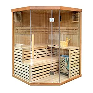 ALEKO CED3CMUR 4 Person Canadian Red Cedar Wood Indoor Wet Dry Sauna Steam Room With 6 KW ETL Electrical Heater