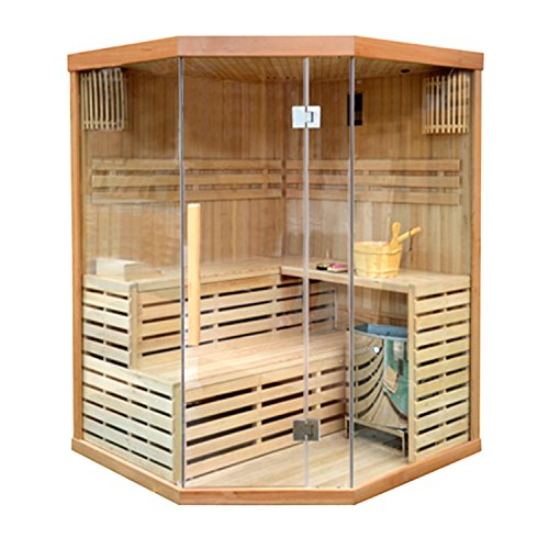 ALEKO CED3CMUR Indoor Wet Dry Sauna and Steam Room, 4 Person, Canadian Red Cedar, 6 kW ETL Electric Heater, Two Bench Levels by ALEKO