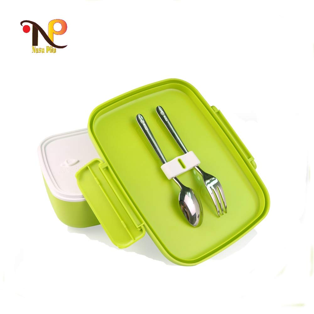 LeakProof 5 Compartments Reusable BPA-free Bento Lunch Box Food Storage Container with Cutlery for Kids and Adult, Microwave and Dishwasher Safe (Green)