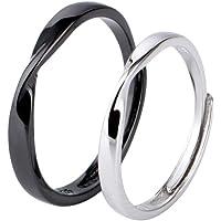 TENDYCOCO 2pcs S925 Anillos de plata esterlina para pareja Anillo abierto ajustable Regalos para mujeres Hombres Amantes del compromiso (Oro Negro y Platino)
