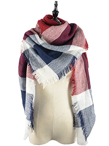 Red White And Blue Outfits (Durio Women's Plaid Blanket Cozy Stylish Gorgeous Tartan Wrap Checked Pashmina Chic Warm Classical Scarves Blue White Red)