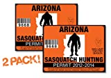 Arizona-SASQUATCH HUNTING PERMIT LICENSE TAG DECAL TRUCK POLARIS RZR JEEP WRANGLER STICKER 2-PACK!-AZ