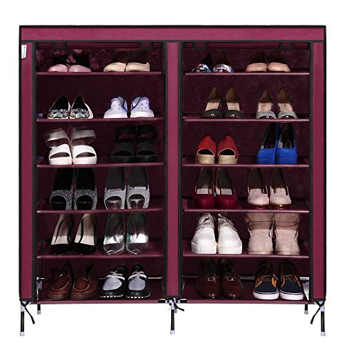 Two Row 6 Storey 12 Lattice 4 Pocket Exterior Portable Shoe Rack Shelf Storage Shoes Closet Organizer Cabinet with Fabric Cover(Coffee) - Yellow Closet Organizer