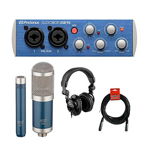 PreSonus AudioBox 96 USB 2.0 Audio Recording Interface with MXL 550/551R Microphone Ensemble (Blue), Polsen HPC-A30 Studio Monitor Headphones & XLR Cable Bundle