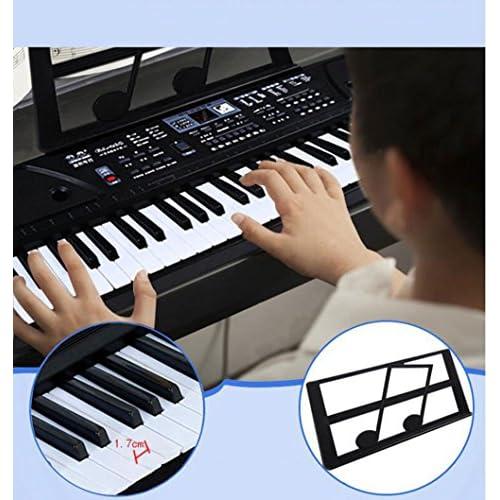 Clavier Enfant 61 Touches Piano Jouet Musical Avec Microphone Cordon D'alimentation Pupitre (noir Rose),Black