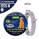 Flea and Tick Collar for Dogs and Cats, Anti Flea Collar Treatment for Dogs - Natural Essential Oil Formula 8 Months Protection, Hypoallergenic and Waterproof Adjustable 24in Length,2pcs