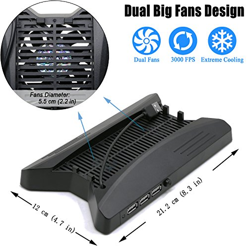 ADVcer-PS4-Pro-Cooling-Vertical-Stand-Dual-Big-Fan-Cool-System-with-3-Extra-USB-Port-HUB-8-PS4-Controller-Thumb-Grip-Cover-Cap-for-Sony-Playstation-4-Pro-Game-Console-and-DualShock-4-Gamepad