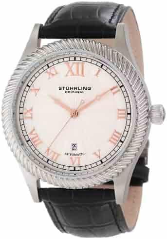 44c3b69fd Stuhrling Original Men's 91C.33152 Symphony Aristocrat Augustus Automatic  Mechanical Date Black leather Strap Watch