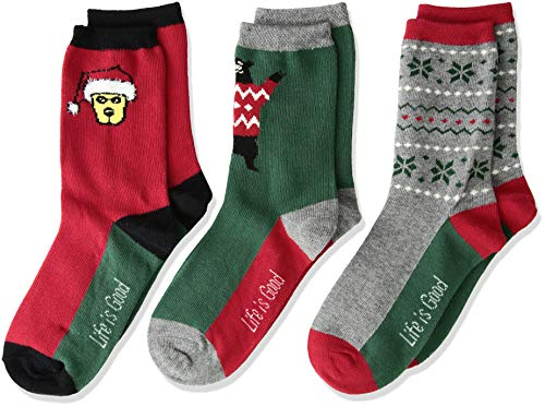 Life is Good Big Boys 3-Pack Crew Socks, Large (Fits Shoe Size 13-4), Holiday Red/Green