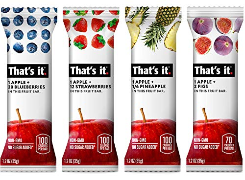 Thats it. Variety Pack-2, 100% Natural Real Fruit Bar, Best High Fiber Vegan, Gluten Free Healthy Snack, Paleo for Children & Adults, Non GMO No Added Sugar, No Preservatives Energy Food (36 Pack)