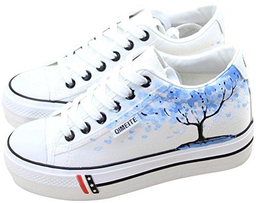 Chaussures De Toile De Satuki Pour Des Femmes, Plate-forme Lacent Des Espadrilles De Mode Blanches De Confort De Chat