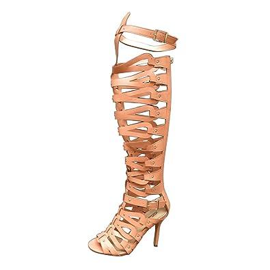 OCHENTA Women's Strappy Over The Knee High Heel Stiletto