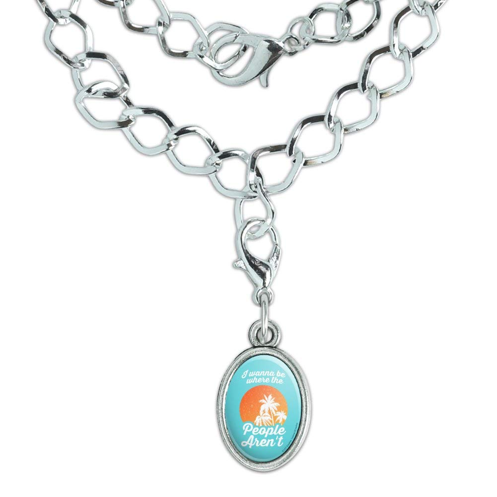 GRAPHICS /& MORE I Wanna Be Where The People arent Funny Humor Silver Plated Bracelet with Antiqued Oval Charm