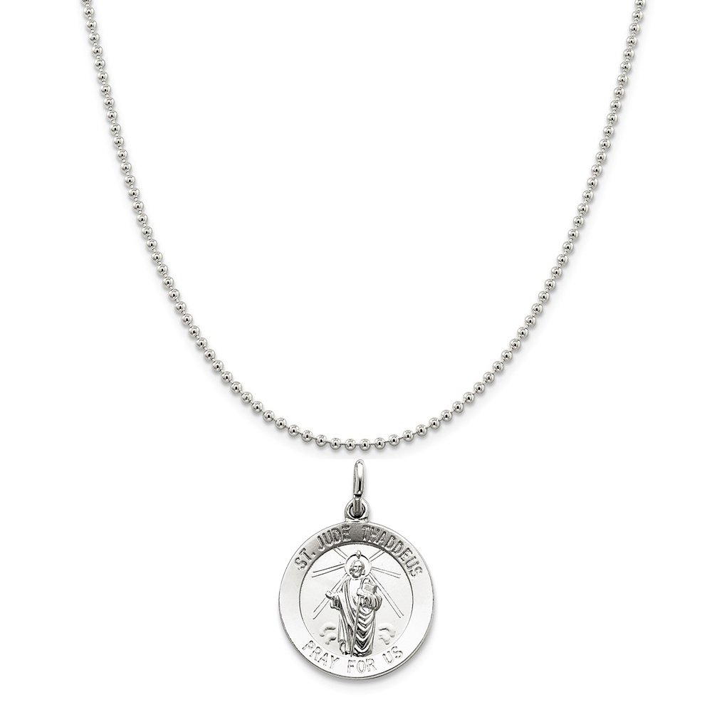 Sterling Silver Saint Jude Thaddeus Medal on a Sterling Silver Cable Snake or Ball Chain Necklace