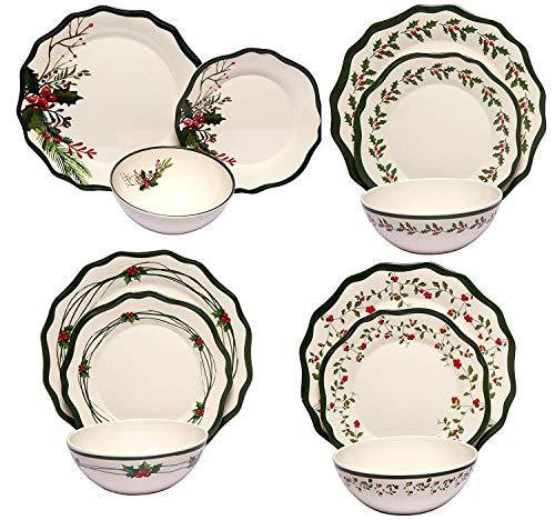 Melange 54-Piece Melamine Dinnerware Set (Berries Celebrations) | Shatter-Proof and Chip-Resistant Melamine Plates and Bowls | | Dinner Plate, Salad Plate & Soup Bowl (18 Each)
