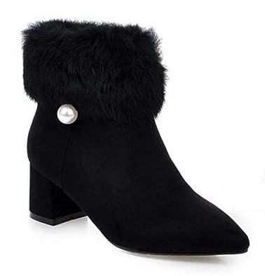 Women's Sexy Waterproof Fully Fur Lined Beaded Pointed Toe Zipper Mid Blocked Heel Wedding Winter Boots