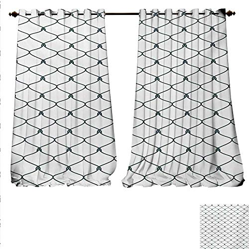 - familytaste Patterned Drape for Glass Door Curvy Wavy Lines and Oval Shapes with Delicate Knots Simplistic Design Window Curtain Fabric W84 x L96 Slate Blue and White.jpg
