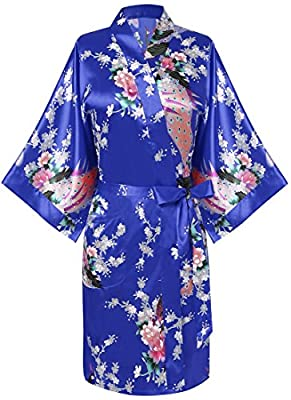 Eshion Women's Peacock Short Kimono Sleepwear Medium Sleeve Satin Silk Nightwear Solid Robe with Belt